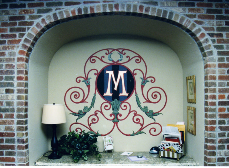Scrolled design monogram-wall painting
